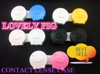 Wholesale Pig Contact Lens Case - free shipping contact lense case 20pcs good quality lovely pig