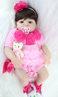 Wholesale full body silicone toy for sale - Group buy 55cm Full Body Silicone Reborn Girl Baby Doll Toy Lifelike Pink Princess Dress Newborn Babies Doll Cute Birthday Gift Bathe Toy