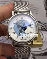 Wholesale New Design Complete Dresses - Classic Top Fashion Automatic Mechanical Self Wind Watch Men Brand Dial Silver Full Stainless Steel Wristwatch Design Dress Moon Phase Clock