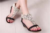 Wholesale Rome Sandals Gold - HOT!Brand new fashion Rome Women Bright Crystal Sandal Wedge Heel Sandals womens Shoes high heels slippers casual shoes AAA