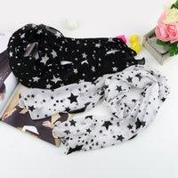 Wholesale Black White Long Scarf - 1pcs New super soft Women Black White Stars Long Chiffon Neck Wrap Scarf Stole