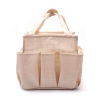 Solid Linen Open Jute Burlap Personalized Garden Tote Bag Utility Handbag  Pockets GardenTool Bags Gift For