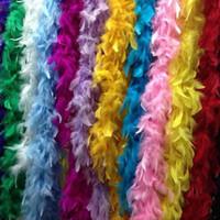 boa de plumas amarillas al por mayor-Boas de plumas blancas Boa de plumas de pavo Gran Chandelle Marabou Boa de plumas Ceremonia de boda Boas Blanco Rosa Naranja Amarillo Rojo Verde
