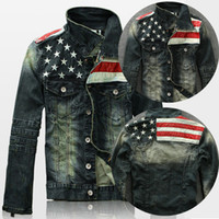 Wholesale Leather Suit For Motorcycle - New Mens American Flag Suit Jeans Jacket PU Leather Patchwork Vintage Distressed motorcycle Denim Jacket For Men coat