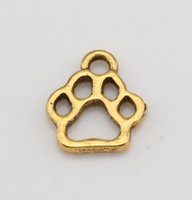 Wholesale Hot Antique Gold Alloy Hollow Paw Print Charm Pendant x13mm DIY Jewelry