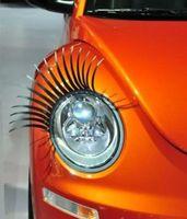 Wholesale eyelash stickers for car headlights resale online - Black D Automotive Headlight Eyelashes Car Eye Lashes Auto Eyelash D Car Logo Sticker charming eyelash stickers for cars pairs