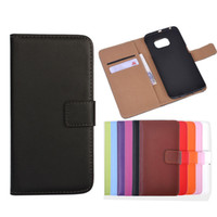 Wholesale Flip Phone Holder - For Galaxy S6 Edge Genuine Real Leather Wallet Phone Case with Card Holder Flip Stand For Samsung G9200 G920F Luxury Colorful Cover