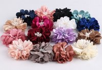 (30pcs / Lot) 2 '' Headbands de moda Mini tecido de luxo Fold Matt Flowers Flor artificial com Headwear Center Flatback Mesh Hair Flower