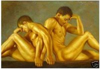 Wholesale Nude Male Painting - strong male nude painting in oil on canvas 2 Guaranteed 100% Free shipping