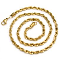 Wholesale Pure Gold Necklace Chain - New XMAS  Valentine GIFTS Gold Plated Pure 316L Stainless steel Charming Twist RopeChain Link Necklace Hotsale Women Men Jewelry 4mm 24''