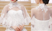 Wholesale Lace Wedding Gown Boleros - Factory Sale Round Neckline V Back three quarter Length Sleeves Beaded Lace Wedding Bolero Jacket Party Bridal Gown Wraps