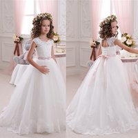 Wholesale Evening Dresses For Children - Bohemian Princess Style Child Formal Party Evening Dress For Communion White   Ivory Appliques Beads Flower Girls Dresses For Weddings
