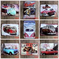 Wholesale Classic Tin Car - lastest 20*30cm retro vintage classic auto car Tin Sign Coffee Shop Bar Restaurant Wall Art decoration Bar Metal Paintings