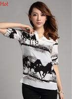 Wholesale Horses Chiffon Shirt - New Women Chiffon Blouse Long Sleeve Casual Ladies Clothing Vintage Black Horse White Shirt Sheer Summer V-neck Blouses Tops 2015 SV002223