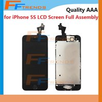 Wholesale Lcd Touch Screen Flex Cable - for iPhone 5 5C 5S LCD Display & Touch Screen Digitizer Full Assembly with Home Button and Front Camera Flex Cable & Earpiece 100% Test