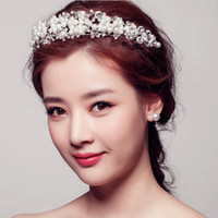 Wholesale Tiara Diamond Wedding Dress - Korean Styles Wedding Dress Jewelry Accessories Shiny Pearl Diamond Bridal Hair Crown Tiara Headpiece Retail Free Shipping