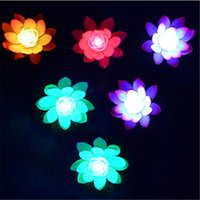 ingrosso serbatoio di loto-17cm LED EVA Lotus luce artificiale galleggiante fiori d'acqua simulazione casa serbatoio decorazione bomboniere vendita calda