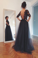 Wholesale Popular Sexy Club Dresses - Popular Black Evening Dresses 2015 Backless A Line Half Sleeve Floor Length Prom Dress Sheer Neck Lace with Beaded Formal Evening Gowns