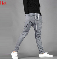 Wholesale Cotton Pant Baggy Hip Hop - 2015 Top Hot Fashion Harem Pants Trousers Men Casual Sweatpants Sport Mans Baggy Cargo Joggers Hip-hop Pants XXL-M Black Grey Trousers 16719