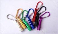 Wholesale Home Keyrings - Colorful Mini LED Flashlight Keychain Aluminum Alloy Torch with Carabiner Ring Keyrings LED mini Flashlight Mini-light free shipping