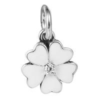 pandora encanto de la primavera al por mayor-100% 925 cuentas de plata Sterling Fit Pandora Charms pulsera DIY Fashion Jewelry Primrose pendiente de plata con Clear CZ y White Enamel