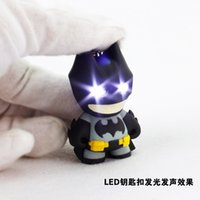 Wholesale luminous keychain - DHL FREE 100pcs cool Avengers super hero batman keychain key ring led luminous key chains birthday gift toys can make sounds flash light