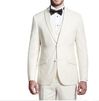 Wholesale White Dinner Jacket Black Shawl - Custom Made Groom Tuxedos 2016 Ivory Groomsmen Shawl Lapel Best Man Suit Bridegroom Wedding Prom Dinner Suits (Jacket+Pants+Tie+Vest)