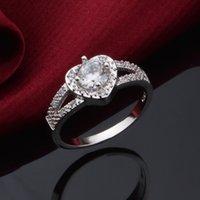 aaa zirkonoxid ringe großhandel-New Fashion AAA Zirkonia Kristall Engagement 925 Silber Ringe für Ehering Korean herzförmigen Diamant Weihnachten Ring Schmuck Geschenke