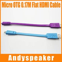 Wholesale High Host - 22cm 17cm Micro to OTG Flat Cable HDMI Cable HD Adapter Cable Male to Female 0.22M Host OTG Adapter Cable Pruple Blue High Speed 100pcs up