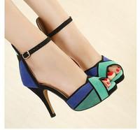 Wholesale Color Block Strap Heels - Paris Fashion Show Sexy Color Blocking High Heel Sandal Dress Shoes 2 Colors