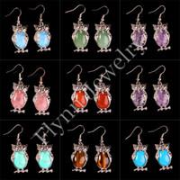Wholesale Mix Dangle Beads - Aventurine Amethyst etc Natural Stone Oval Bead Animal Owl Dangle Earrings Charm European Fashionable Jewelry Women Nyx Party Gift 16X Mix
