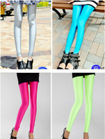 Hot selling Sexy Solid Candy Neon Plus Size Women's Leggings High Stretched Sports Jeggings Fitness Clothing Ballet Dancing Pant