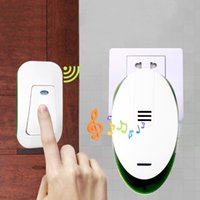 Wholesale Doorbell 32 - S-V89 AC 220V Wireless Home Dingdong Ring Doorbell 32 Melodies 1 Plug-in Receiver 1 Push Button Transmitter 150m Receive Range