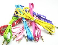 Colorful Cable audio de 3.5mm Cable plano Cable de audio de fideos Aux coche para el iPhone para MP3 / MP4 para ipad Samsung Galaxy Tablet PC