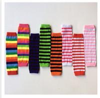 Wholesale Wholesale Rainbow Socks - Baby Leg Warmers Autumn Winter Knee High Cartoon Animal Sock Colorful Striped Leg Warmers Rainbow Infant Girl Legging Socks Knee Pads m0945