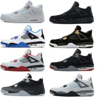 Wholesale air retro 4 Scarpe da basket da uomo Pure Money Royalty White Cement Fire Rosso Black cat Bred Motosports Blue Fear Pack Scarpe sportive