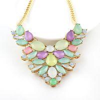 Wholesale Create Female - Colorful Created Gemstone Jewelry Geometric Bib Necklace Female Wholesale Gargantilla