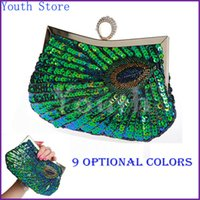Single black satin evening bag - Youth Ring Clasp Women Sequined Party Handbag Fashion Peacock Feather Pattern Sequin Evening Bag Sequin Bridal Purse S3385