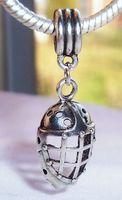 Wholesale Goalie Hockey - Hot ! 100pcs Antique Silver Hockey Goalie Face Mask Sports Dangle Bead fit European Charm Bracelets 40 x 13 x 8 mm Jewelry DIY