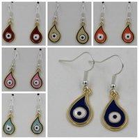 Wholesale Wholesale Hamsa Earrings - Earring , 10 pairs Tear drop Evil Eye Greek Turkish Nazar Hamsa Kabbalah 925 silver Fishhook Ear Wire 11x 35mm