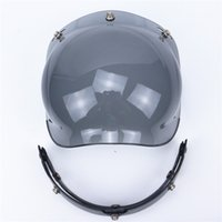 Wholesale Visors Motorcycle Shipping - wholesale free shipping New Flip up 3 snap Bubble Shield Visor 3 4 Open Face helmet glasses VINTAGE Motorcycle Helmet lens glass