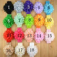 Wholesale Tulle Crochet Headbands - Baby Chiffon Flower Headbands tulle chiffon flower with crochet headband infant headband 18 colors 36pcs lot