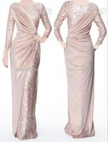 uzun pembe pilili elbiseler toptan satış-Özel Yapılmış Inci Pembe Uzun Kollu anne Gelin Abiye Jewel Boyun Zarif Parlak Kat Uzunluk Pleats Örgün Balo Abiye