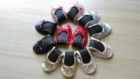 Wholesale Cheap Colored Shoes - Free shipping ! cheap Simple black roll up ballerina rollable shoes with colored bowknot