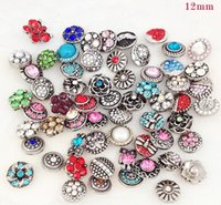 Wholesale Small Rhinestone Buttons - top style small button giner Mixed 12mm New Mini Snap Buttons Rhinestone Colorful Pattern DIY snap button charm mix styles colors button