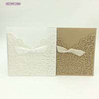 Wholesale Lace Engagement Invitations - Wholesale- 5pcs set Laser Cut Invitation Card Little Vine Lace Engagement card   Wedding Invitation For Guests Wedding Party Supplies