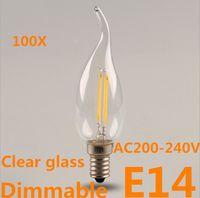 Wholesale E14 3w Led Clear Candle - DHL free 100pcs lot 3W 5W E14 Dimmable LED Filament Lights LED Candle Bulb Lighting Warm white AC220V 230V Clear Glass Filament lamp
