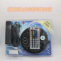 Wholesale Wire Decorating - LED strip blister Kit 5050 RGB Black PCB tape smd 60led m DC 12V flexible strips light for decorating colorful home