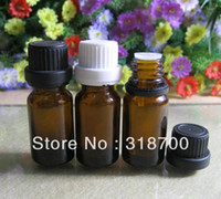 Wholesale Essential Oil Amber Glass Bottles - 200 lot DIY 10ml amber glass essential oil bottle with tamper evident cap,10cc amber glass container