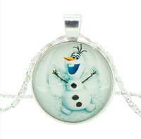 Wholesale Chain Snowman - Frozen Jewelry Snowman olaf Pendant Necklace Silver Chain Statement Necklace Jewelry For kids Christmas Gift F02
